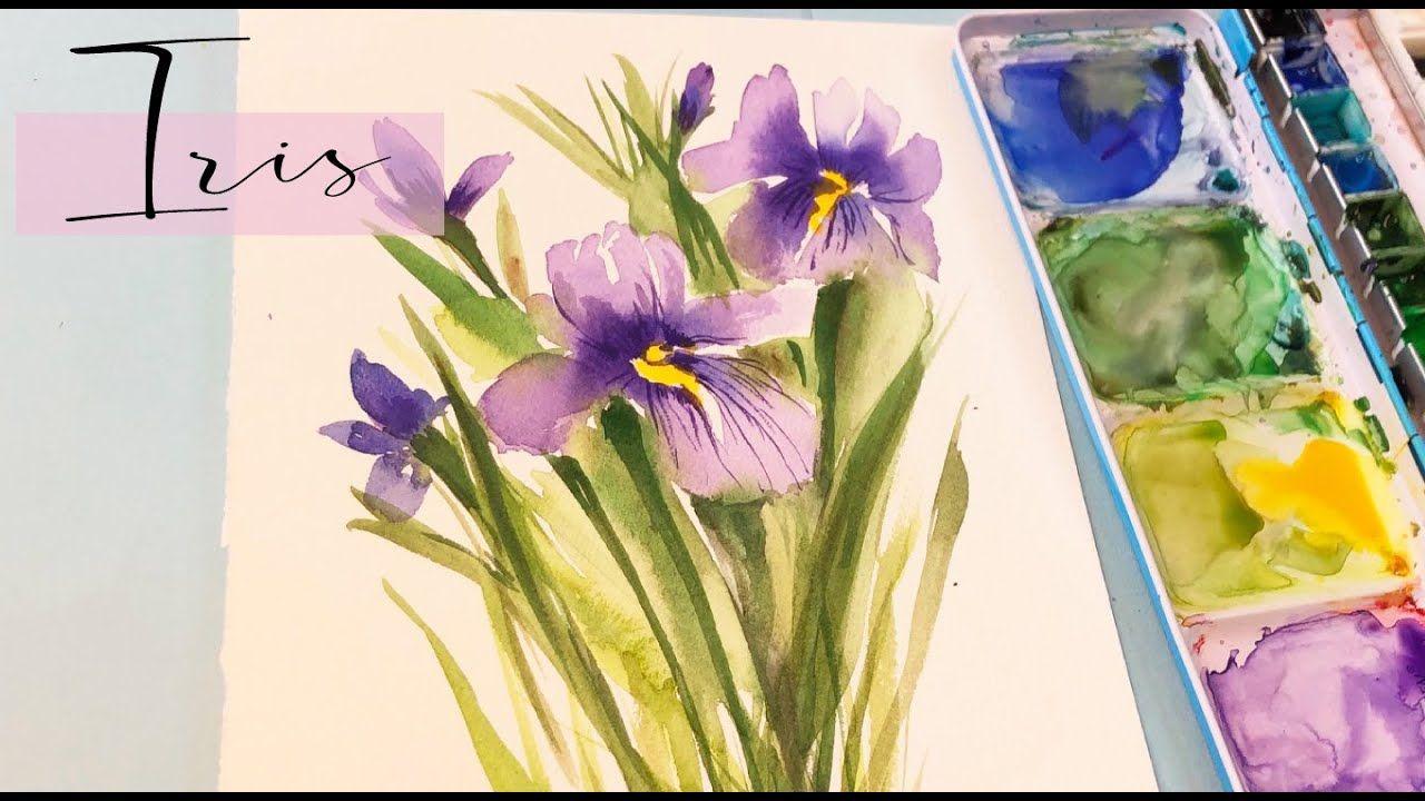 Loose Watercolor Florals Iris Painting Tutorial Step By Step Wet On In 2020 Loose Watercolor Flowers Flower Painting Loose Watercolor