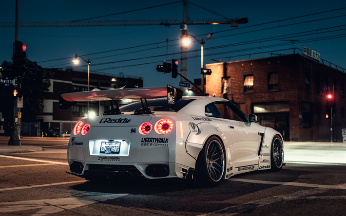 Download wallpapers Liberty Walk, tuning, 4k, Nissan GTR