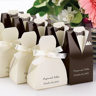 Good for an engagement party or a couples shower! Brown Tuxedo Favor Boxes
