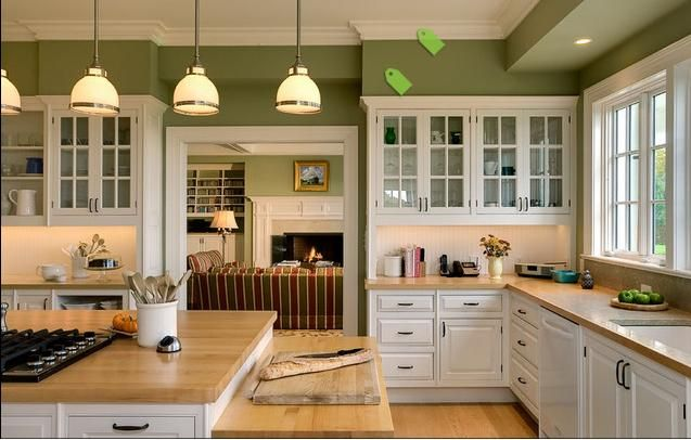 White Oak Cabinetry Butcher Block Counters Pretty Sage Green Walls Tile Backsplash Kitchen Cabinetry Beautiful Kitchen Designs Home
