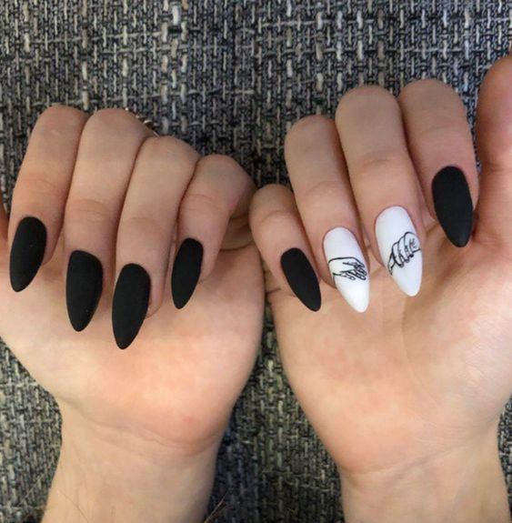 Mysterious Black Manicure Is More Different Than Others Page 32 Of 51 Yeslime Almond Nail Art Almond Nail Stiletto Nails