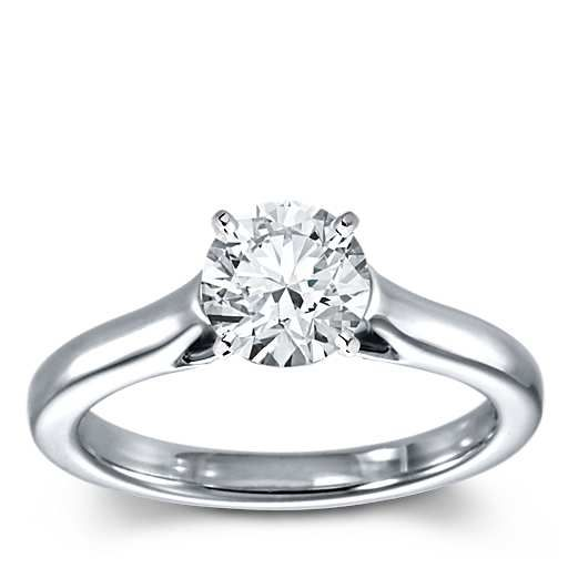 Petite Trellis Solitaire Engagement Ring in 14k White Gold Setting only: $660.00