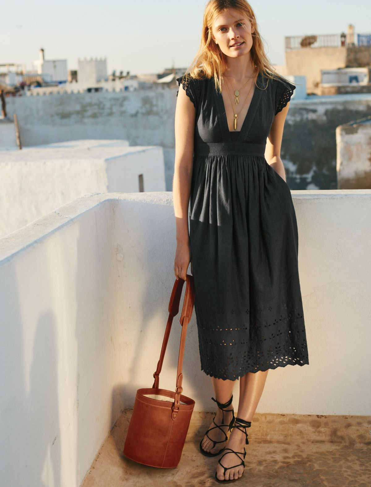 573e6b93e99 madewell eyelet nightbreeze dress worn with the rivet   thread bucket bag +  boardwalk sandal.  everydaymadewell