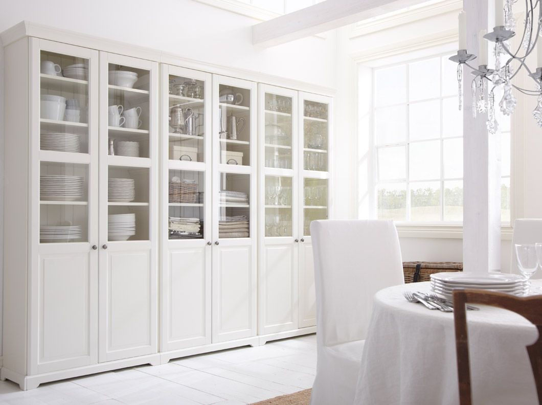 LIATORP White Glass Door Cabinets From Ikea