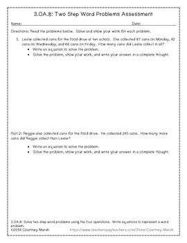 FREE--Common Core 3.OA.8 Two-Step Word Problem Assessment FREEBIE Math, Basic Operations, Word Problems  3rd Examinations - Quizzes, Assessment,   …