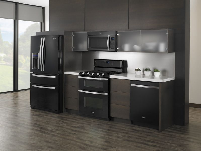The Whirlpool® Black Ice kitchen suite elevates the design