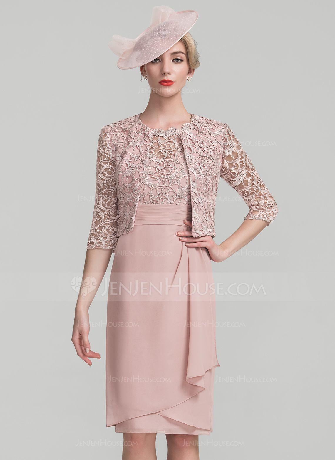 Etui-Linie U-Ausschnitt Knielang Chiffon Spitze Kleid für die Brautmutter  mit Gestufte Rüschen 075a9679f8