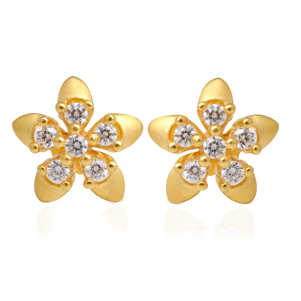 Kids Collection  5 Petals Flower Gold Earring  Grt Jewellers