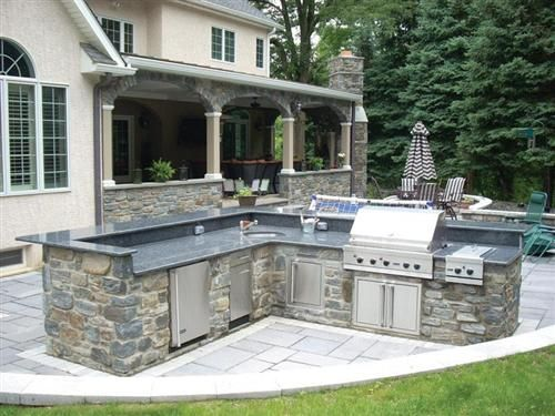 Same Shape As Our Space Outdoor Stone Facade House Fire Pit Bbq