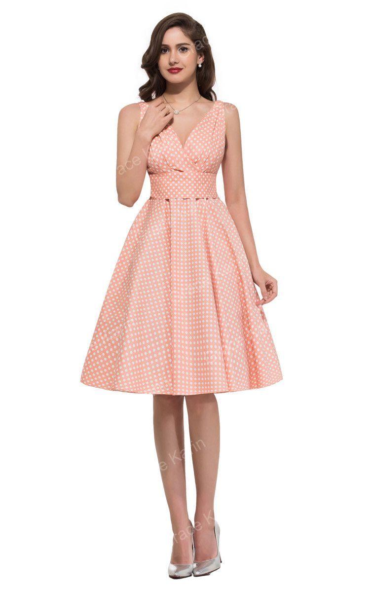 New Design V-Neck Fashion Women Vintage Dress 50s Swing Retro Dress ...