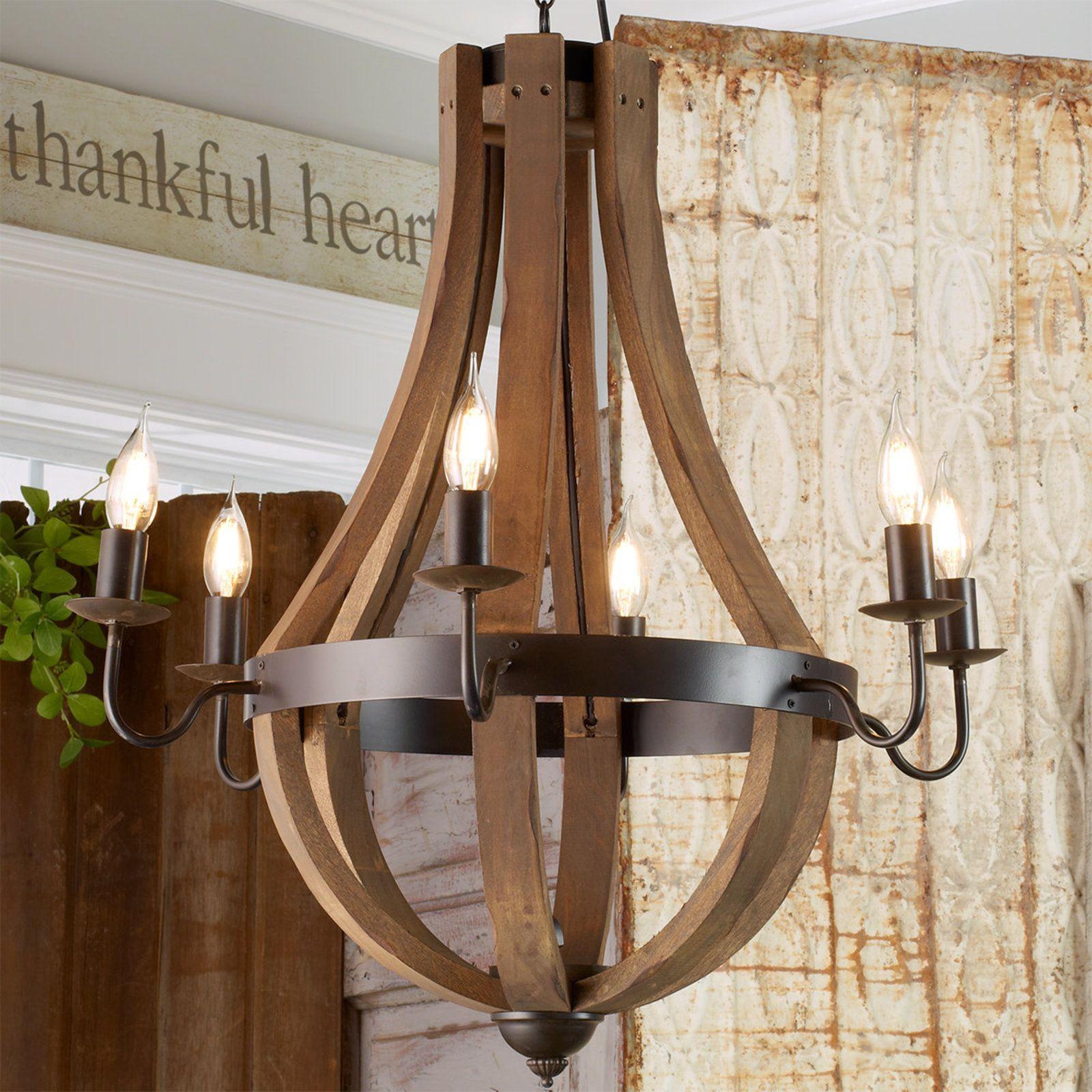 Wooden wine barrel stave chandelier dark stains barrels and wooden wine barrel stave chandelier arubaitofo Choice Image
