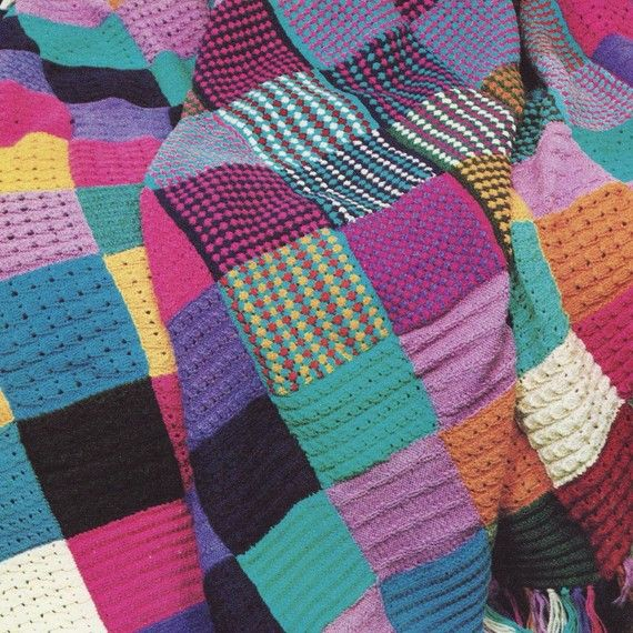 Sale - PDF KNITTING PATTERN for Squares Patchwork Throw Afghan ...