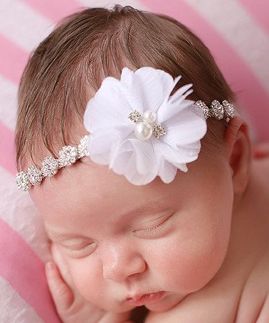 Love this Silver   White Embellished Flower Headband on  zulily!   zulilyfinds a6732ea78cf