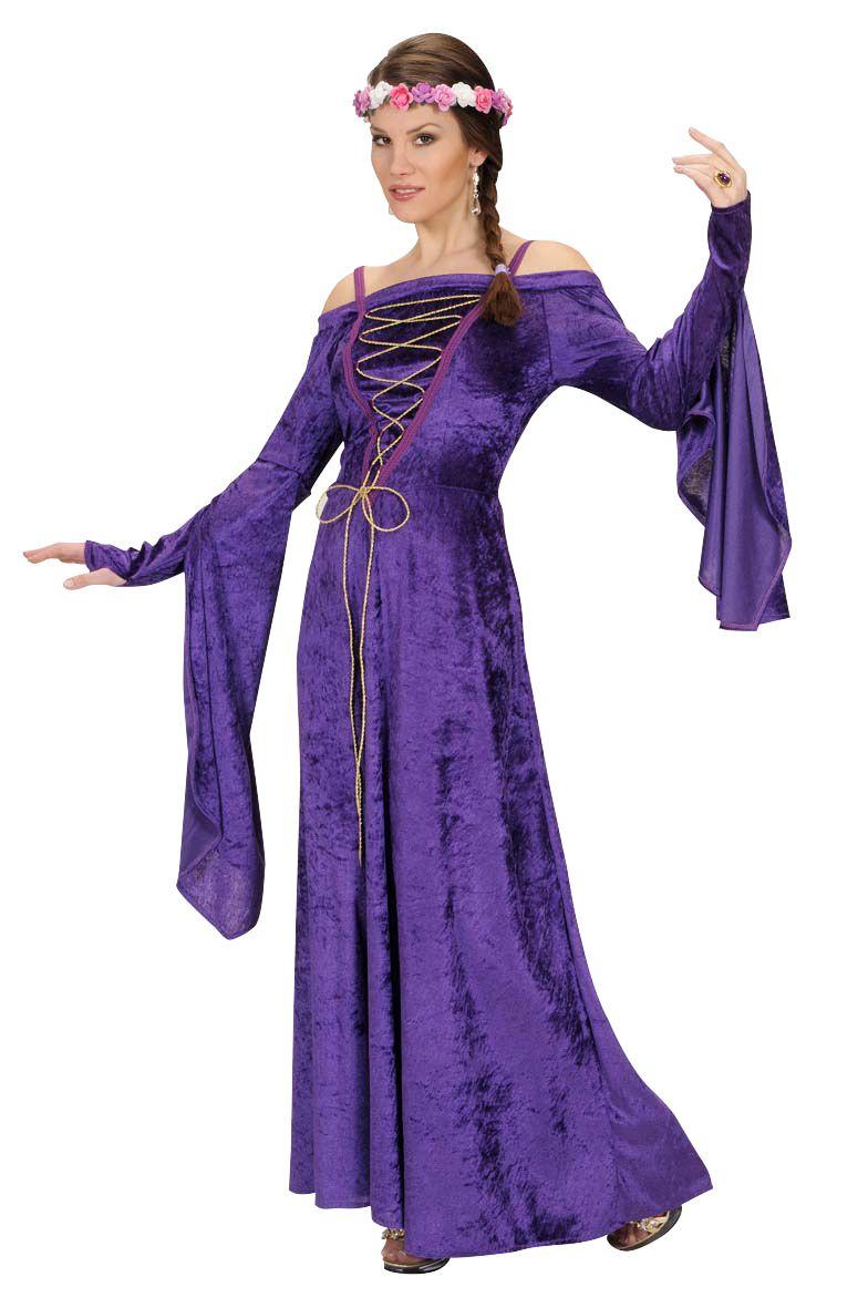 ee478e1c6b4 Déguisement princesse médiévale femme   Ce déguisement médiéval pour femme  se compose d une robe longue violette souple et agréable à porter au  toucher ...