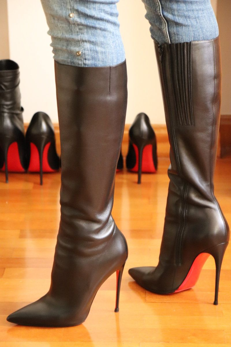Cristian Louboutin thigh high platform boots with stiletto