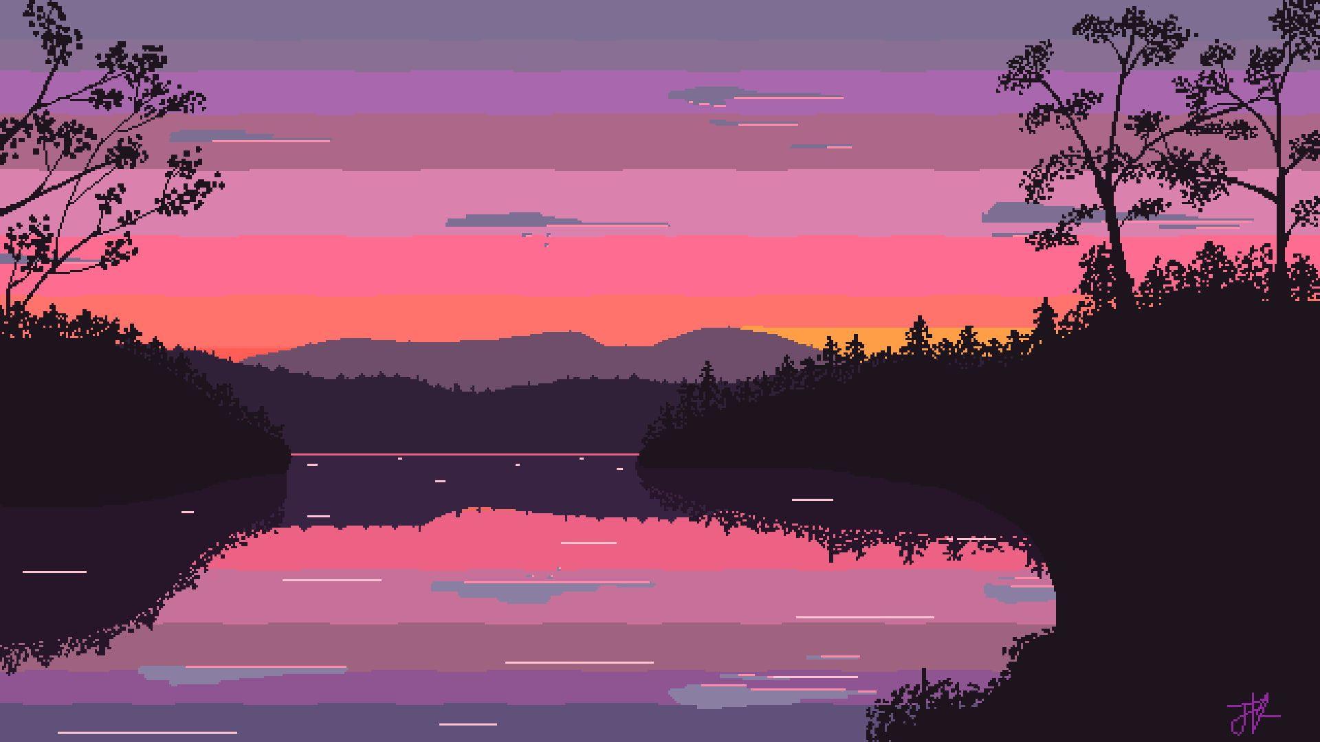 Pixel Art Digital Art Pixelated Pixels Nature Landscape Trees Lake Sunset Clouds Reflec Pixel Art Landscape Pixel Art Background Desktop Wallpaper Art