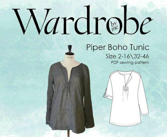 Boho tunic pattern, Sewing patterns tunic PDF pattern for women