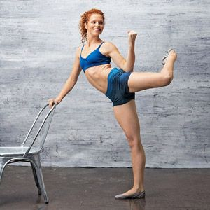 FLY TRAP - GLUTES  Stand with right hand on chair back for support.  Hinge forward at hips, lifting left arm in front of you and left leg behind you (body parallel to floor).  Side bend to left at waist, bringing left elbow to left hip and bending left knee. Extend. Do 10 reps.  From elbow-to-hip curl position, do 20 pulses, lifting and lowering bent left leg by 1 inch. Hold final rep for 5 counts. Switch sides; repeat.