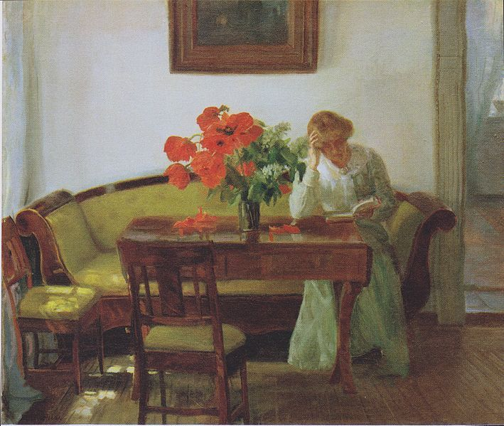 Anna Ancher, 1905, Interior with poppies and reading woman (Lizzy Hohlenberg)