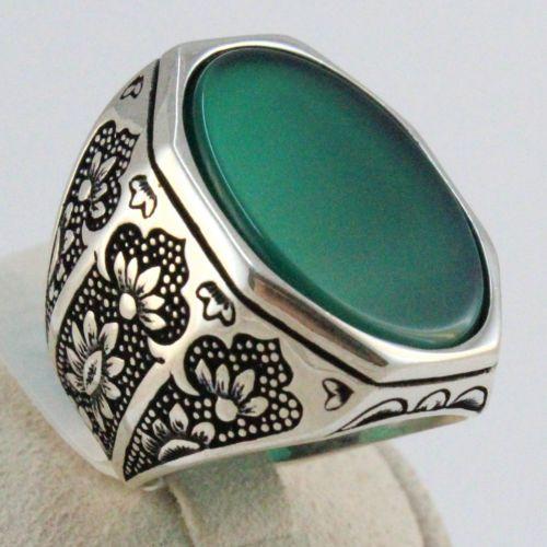Heavy 925 Sterling SILVER Turkish Handmade Ottoman Green Agate Men Ring