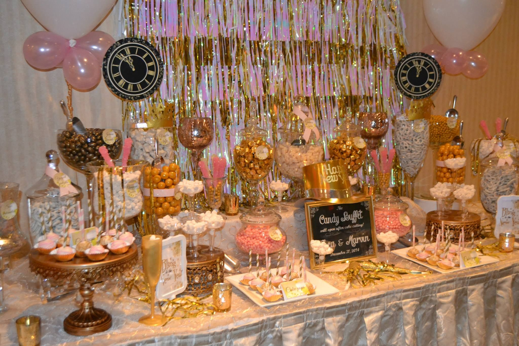 New Years Eve pink and gold candy buffet | Candy buffet baby shower, Candy buffet wedding, Candy buffet