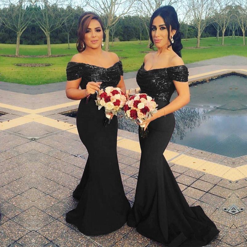 Black Bridesmaid Dresses | Glitter Sequin V Neck Off The Shoulder Satin Mermaid Bridesmaid