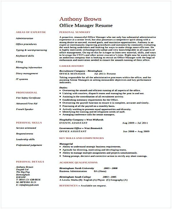 Office Manager Resume Assistant Office Manager  Office Manager Resume Sample  In Needs