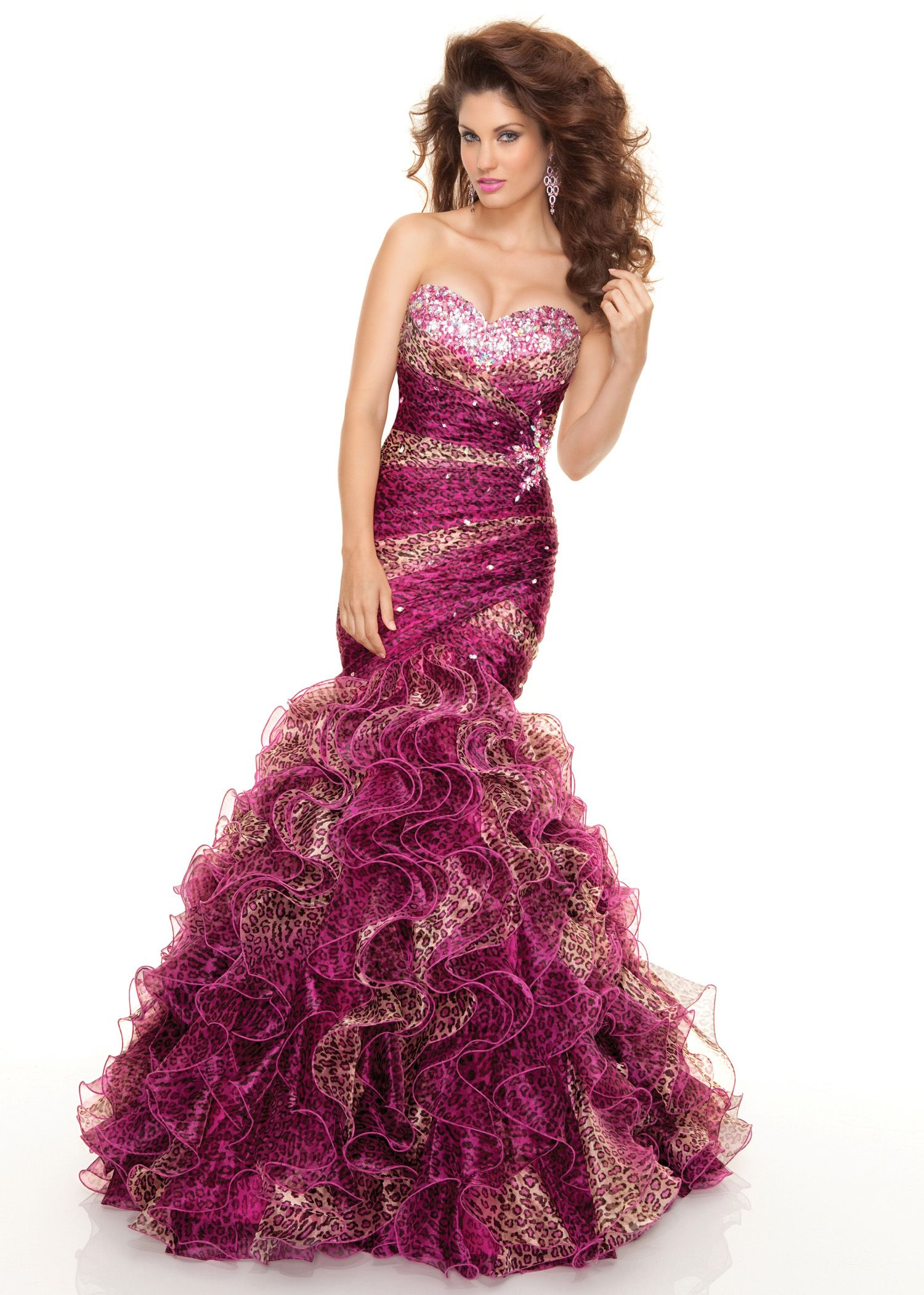 Paparazzi By Mori Lee 93027 Strapless Pink Leopard Print Prom Dress