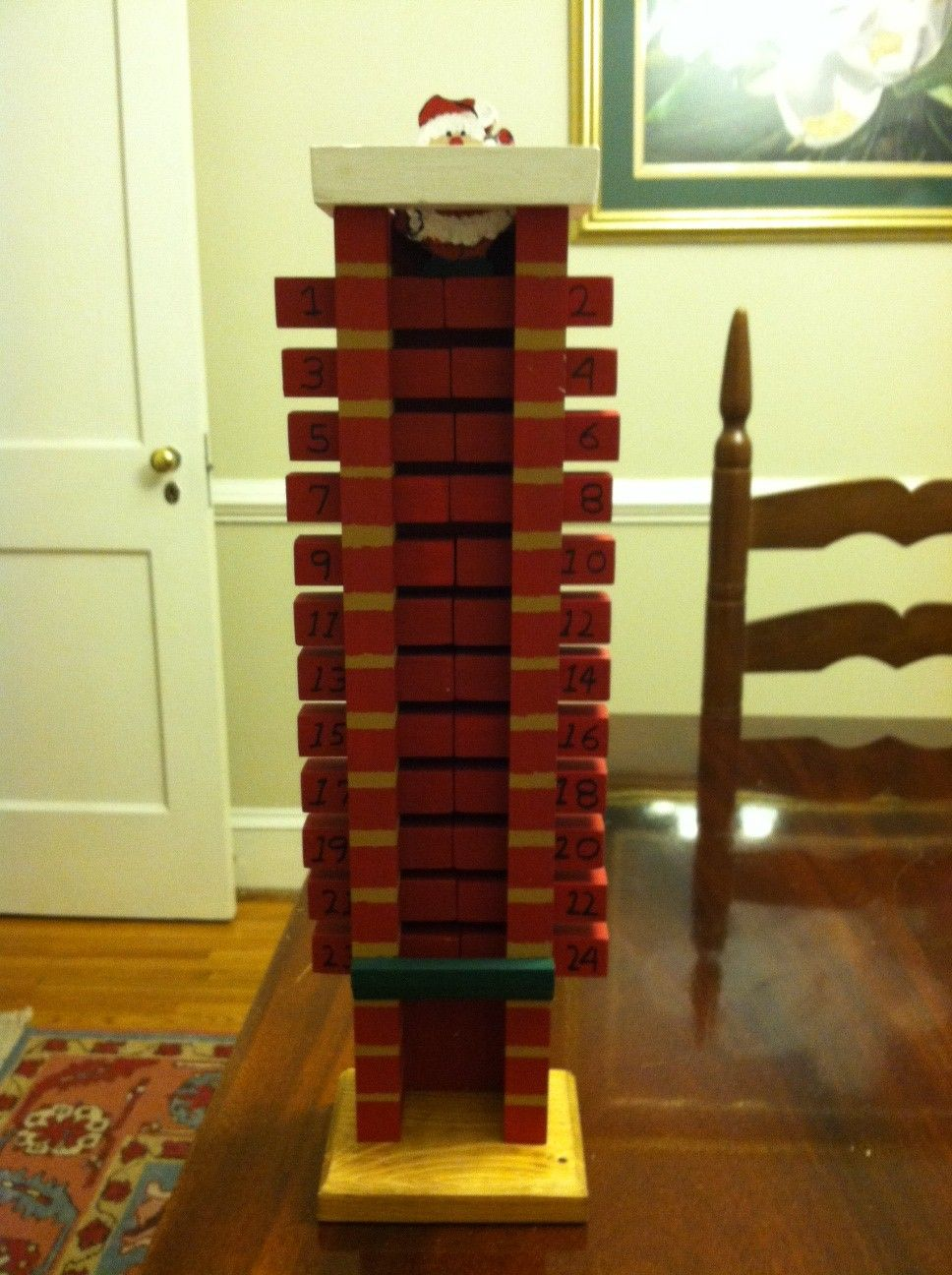 Handcrafted Wooden Advent Calendar Santa Goes Down The