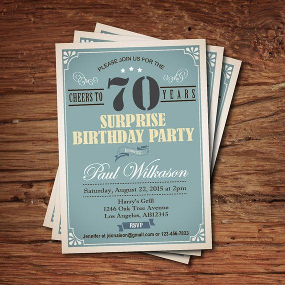 Surprise 80th Birthday Invitation For Man Guy Any Age Vintage