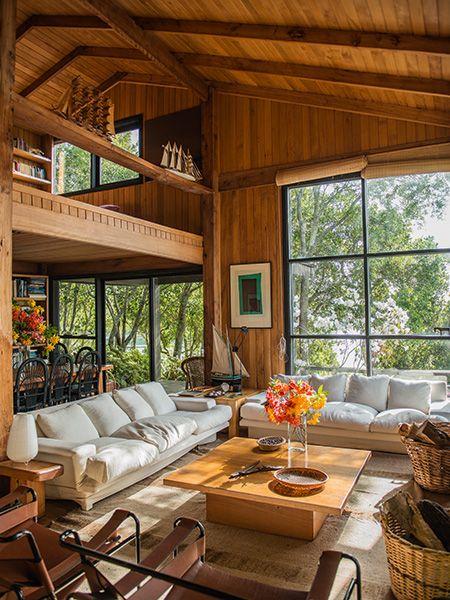 Beautiful Wood Paneled Rooms: Beautiful Wood-Paneled Living Room With Open Floor Plan