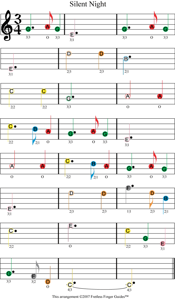 Silent Night Easy Color Coded Violin Sheet Music Musiikki Viulu