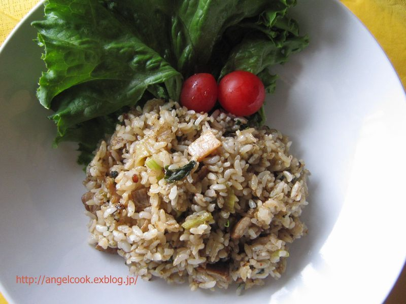 Fried rice with ginger teriyaki pork flavored burned soy sauce