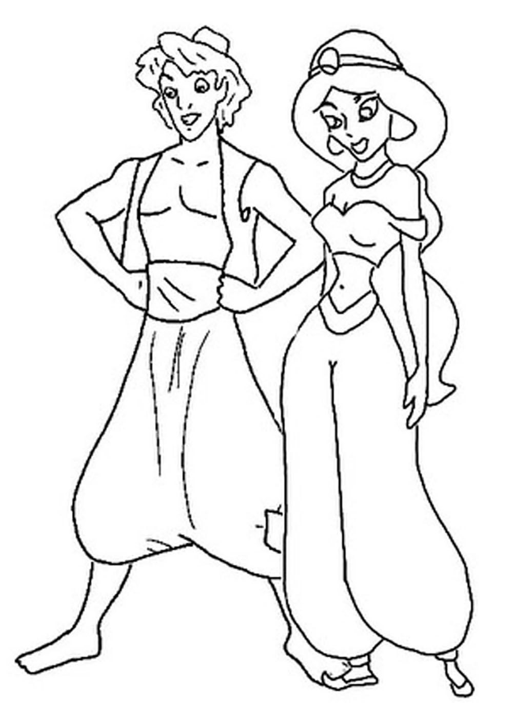 Aladdin Standing With Jasmine | Coloring Book Pages | Pinterest