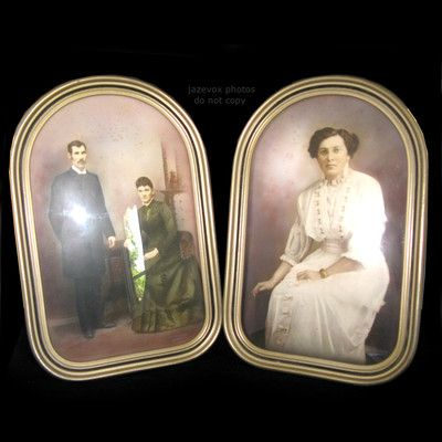 SOLD* .. ANTIQUE Vintage Victorian BUBBLE GLASS PHOTO FRAME Domed ...