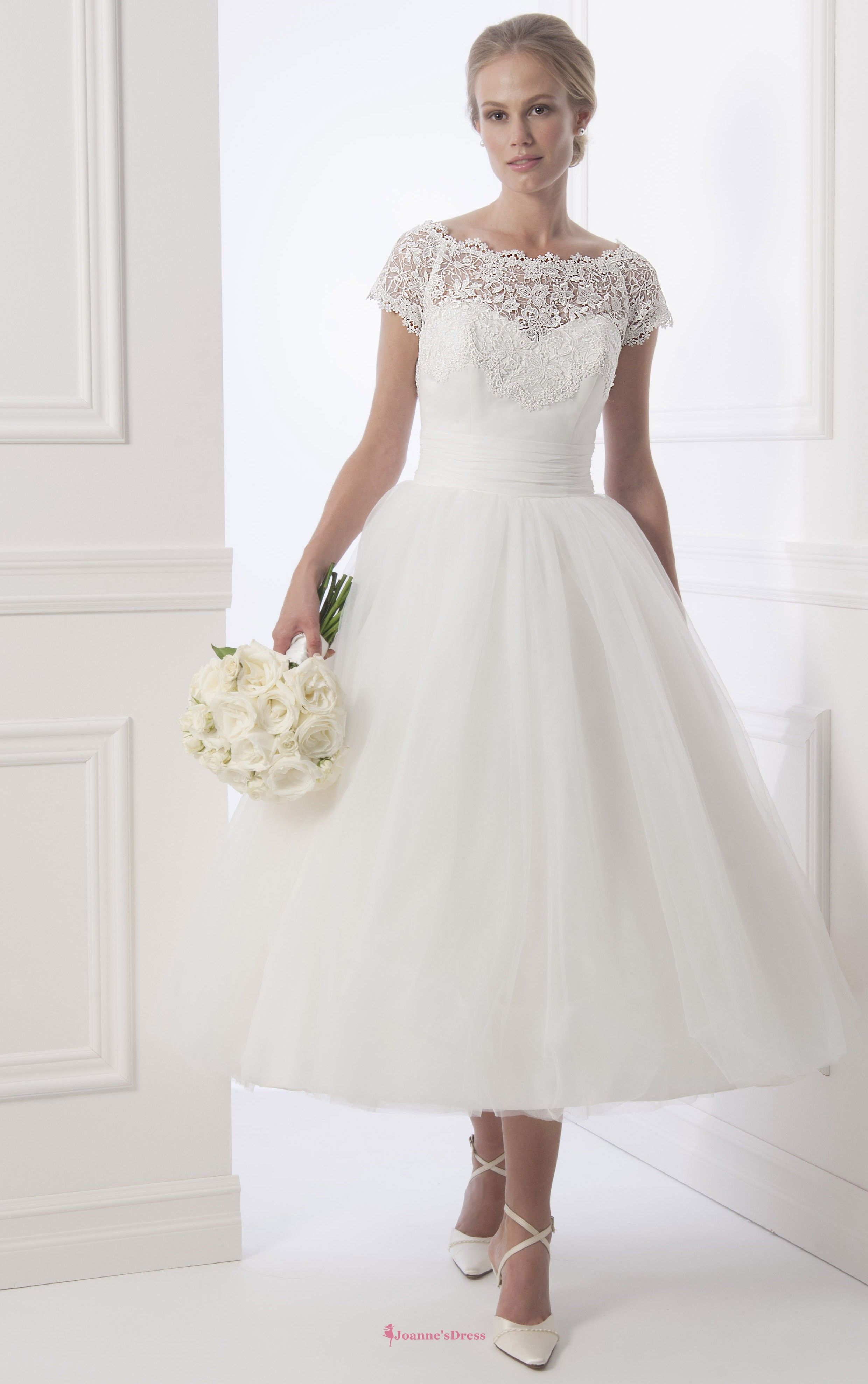 Tea length plus size wedding dresses  Fairytale Bateau Aline Tealength Wedding Dress With Lace  Wedding