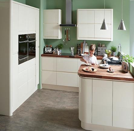 B&Q Cooke & Lewis Appleby Gloss Cream Handleless Kitchen