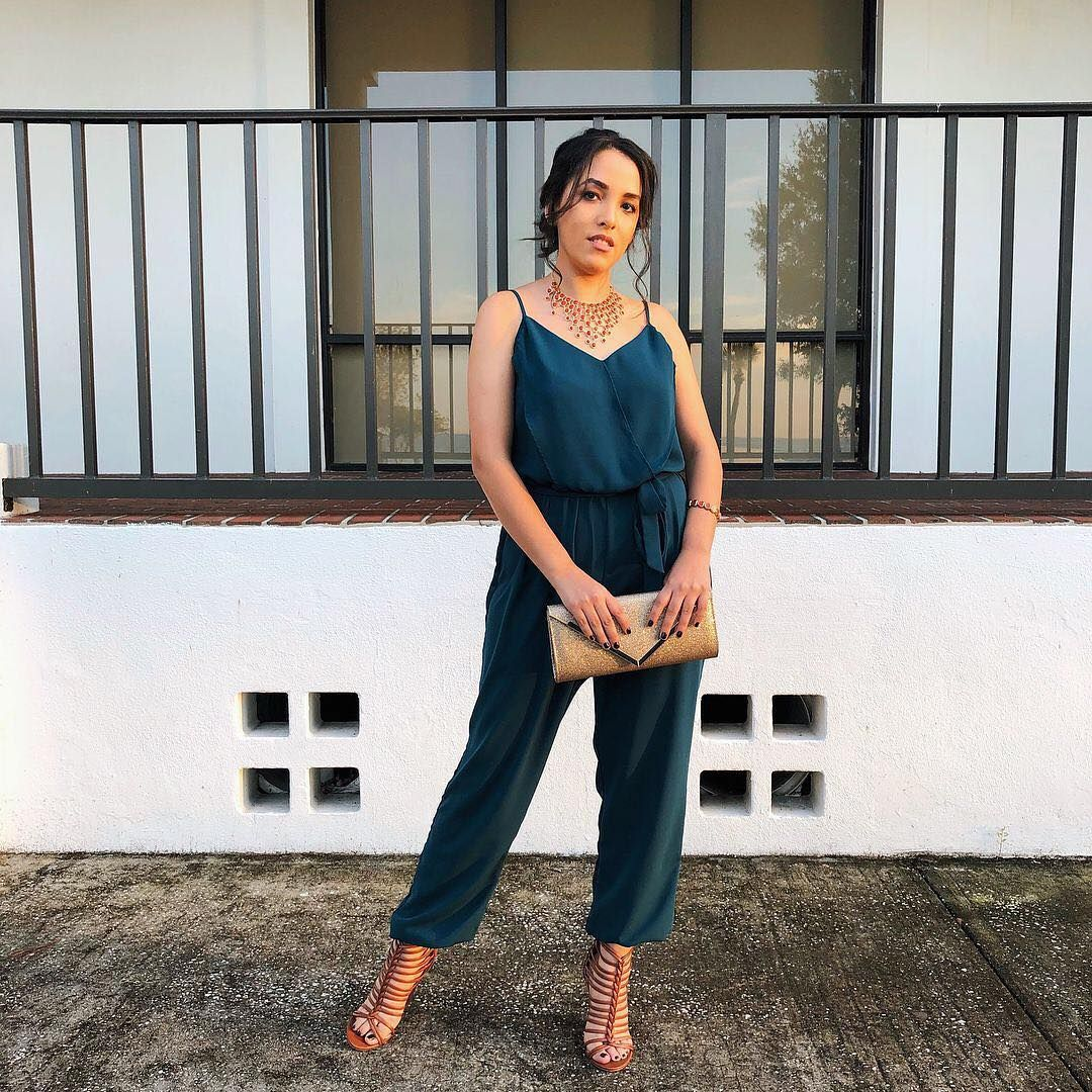 What if teal was your color? Beverly, @_beverly_ann, shares her Pinterest style for a night out, rockin' a romper. Share yours with #MyPinterest