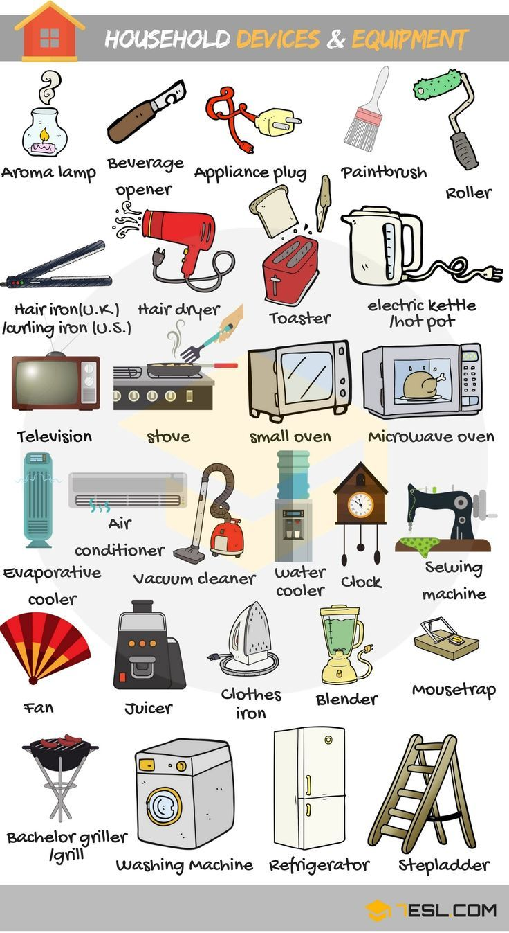 Household Tools Devices And Equipment Vocabulary Aprender