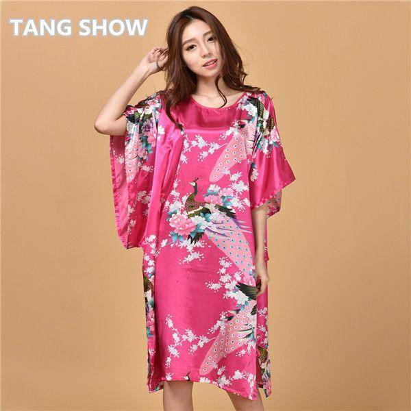 2e58fb4d6c Plus Size Black Women s Summer Lounge Robe Lady New Sexy Home Dress Rayon  Nightgown Large Loose Sleepwear Bathrobe Gown S002-B