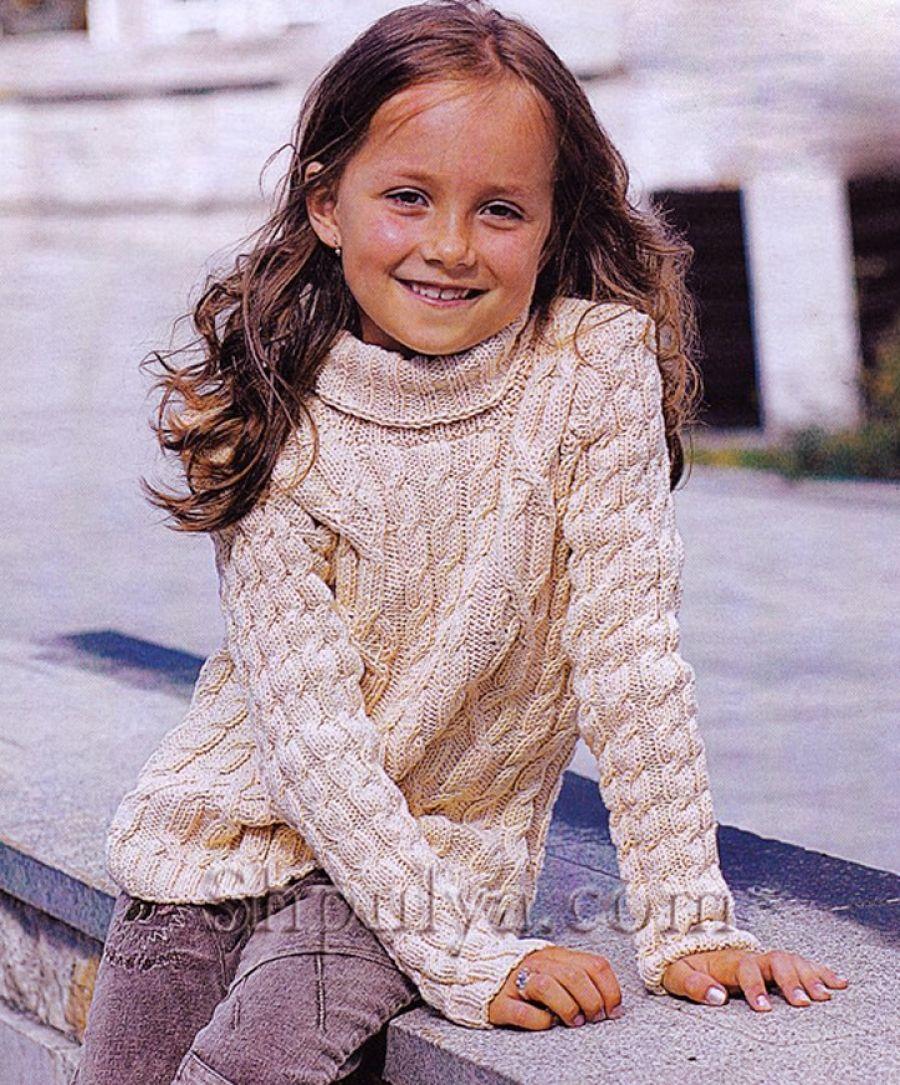 схема свитера спицами для девочки на рост 110