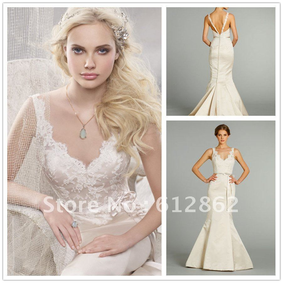 Sexy Low Back Mermaid Lace And Satin Wedding Dresses 2013