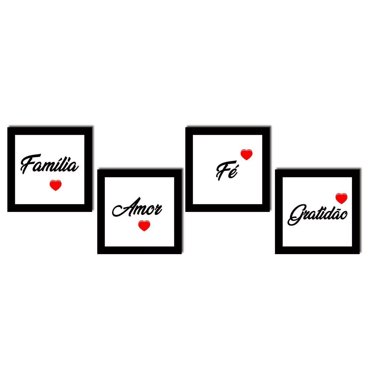 7b834b626 Kit 4 Quadros Quadrados com Frases e Palavras para Sala Quarto Decoração Amor  Fé Família Gratidão