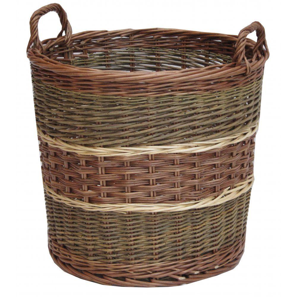 White wicker baskets with handle - Glastonbury Round Wicker Log Storage Basket Willow Large Fireside Handles Wood Ebay