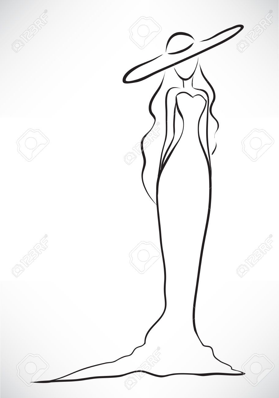 Vector picture with a silhouette of the graceful slender young woman