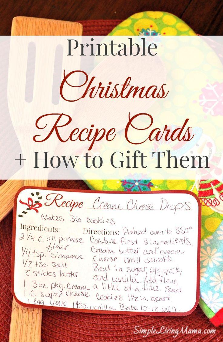 Christmas Recipe Cards - Free Printable | Recipe cards, Christmas ...