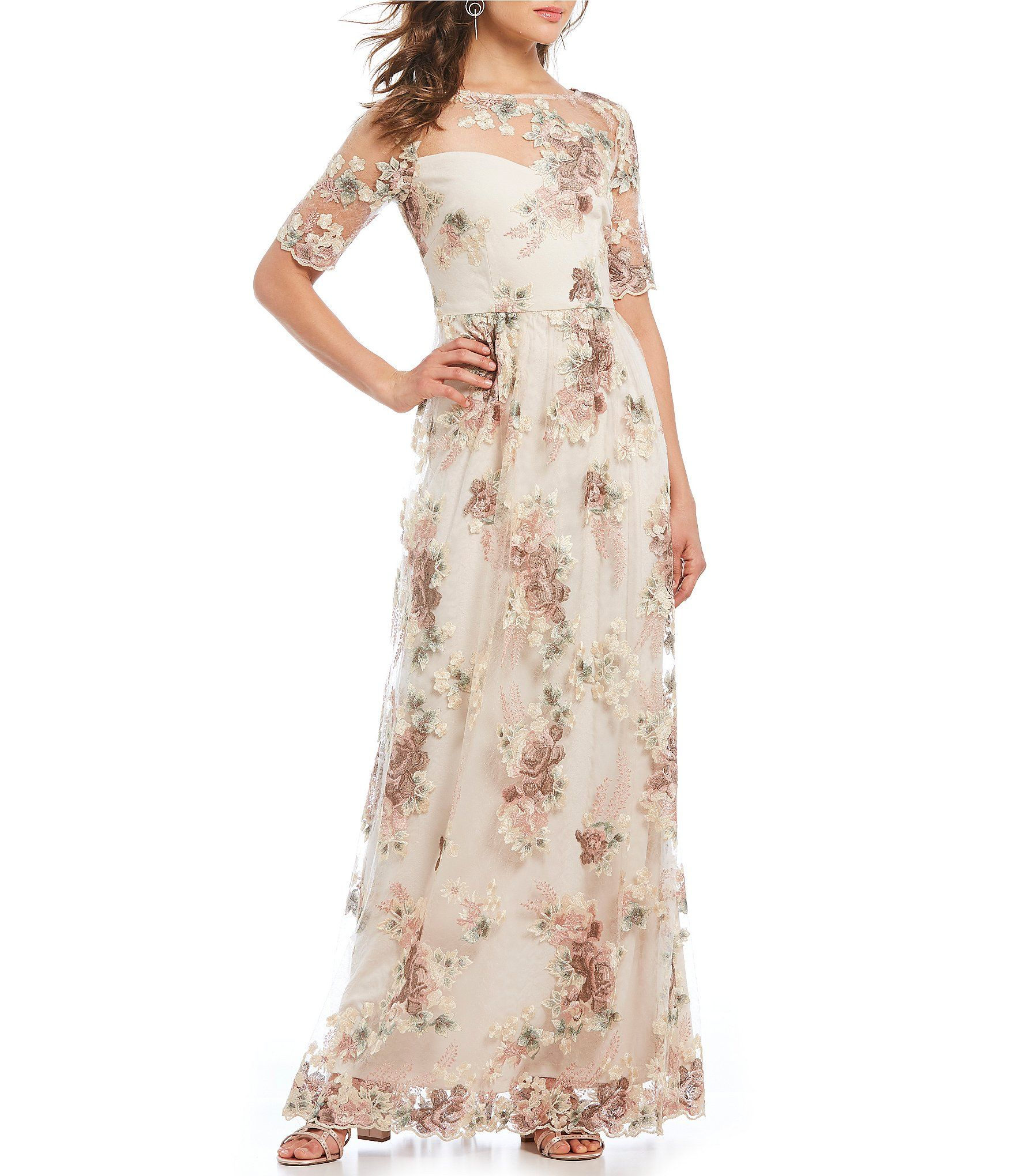 Dillards Adrianna Papell Floral Embroidered Long Gown Beautiful Bridal Dresses Bridal Dresses 2018 Gowns