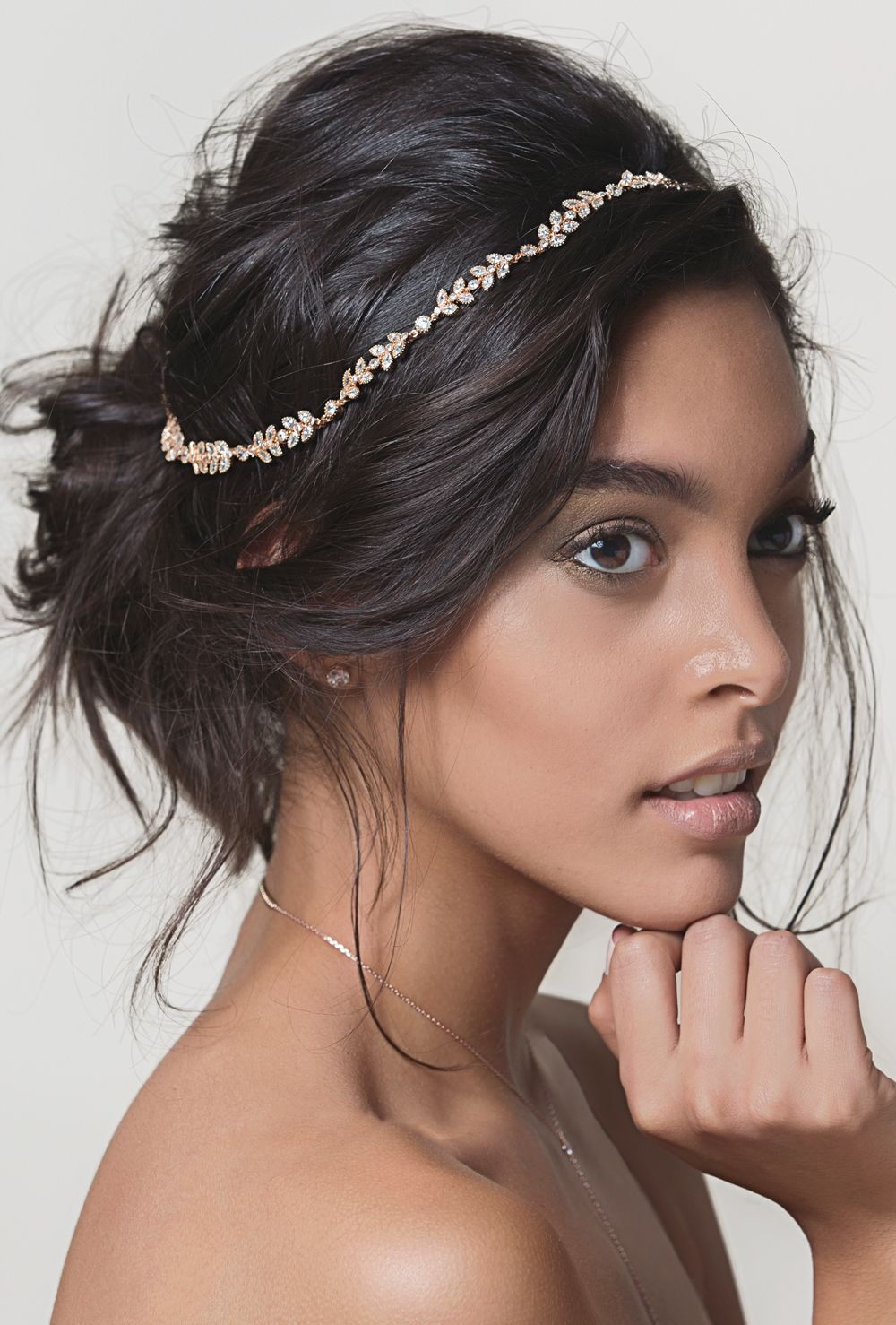 boho leaf headband with ribbon tie in rose gold   bridal hairstyle