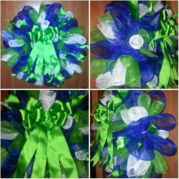 I made this Seattle Seahawks inspired mesh wreath.... gave to my dad!