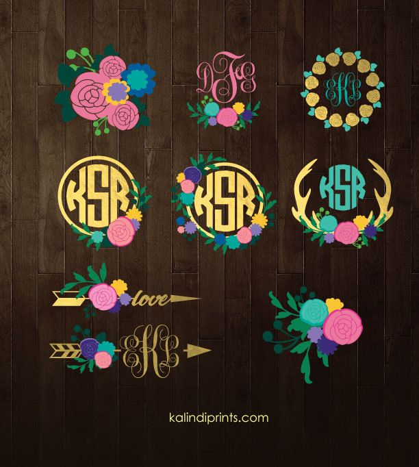 Flowers frames SVG  | Flowers vector graphic |  Flowers monogram clipart  | svg files |  ID#MFP1 by KalindiPrints on Etsy